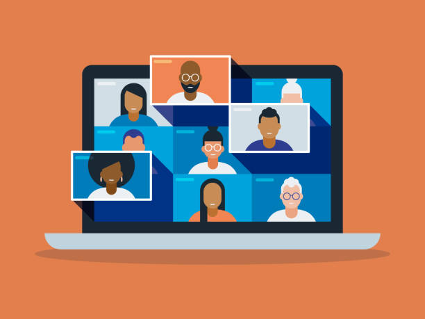 illustration of a diverse group of friends or colleagues in a video conference on laptop computer screen - e-learning not icons stock illustrations