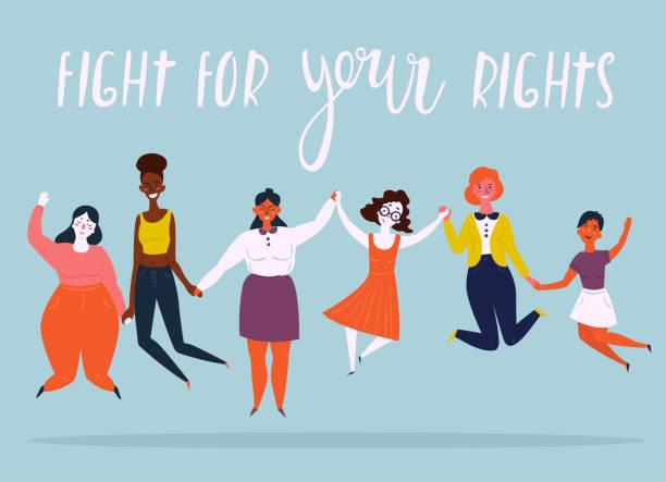 여성 점프의 다양 한 그룹의 그림 - 여성 문제 stock illustrations