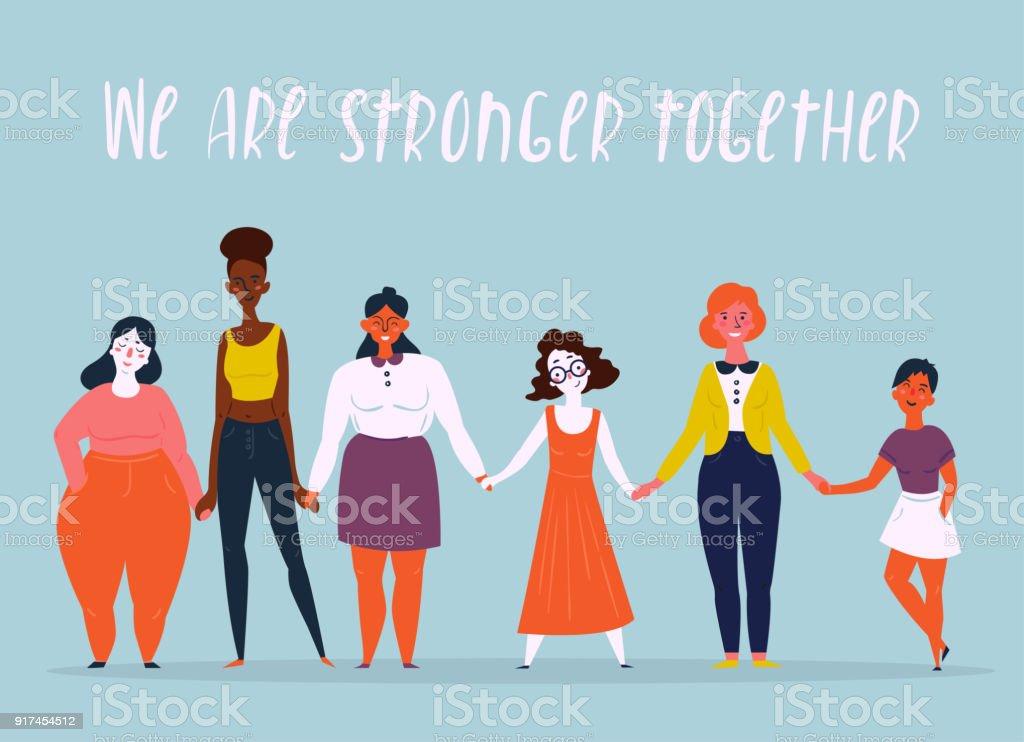 Ilustração de um grupo diversificado de mulheres. Feminino - ilustração de arte em vetor