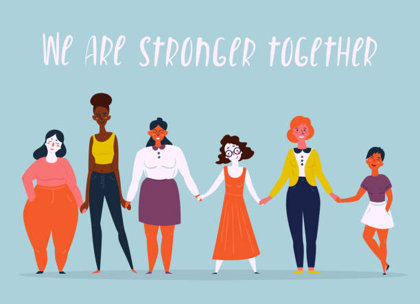 Illustration of a diverse group of women. Feminine Diverse international and interracial group of standing women. We are stronger together text. For girls power concept, feminine and feminism ideas, woman empowerment and role cards design. confidence stock illustrations