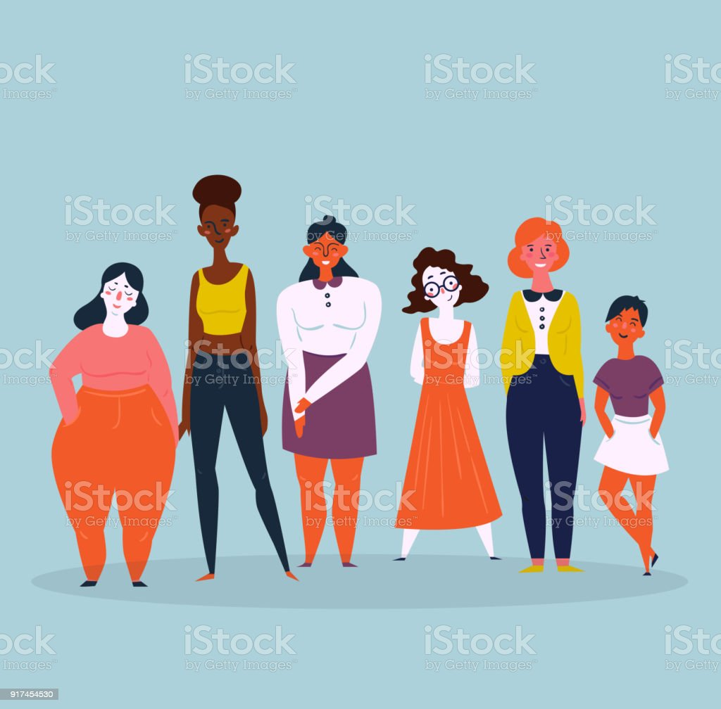 Illustration of a diverse group of women. Feminine vector art illustration