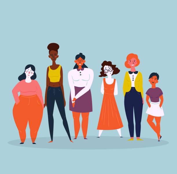 illustrations, cliparts, dessins animés et icônes de illustration de divers groupes de femmes. féminine - modèles de bande dessinée