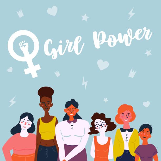 여성의 다양 한 그룹의 그림입니다. 여성 - 여성 문제 stock illustrations