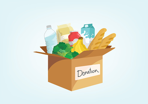 Illustration of a donation box with food in it