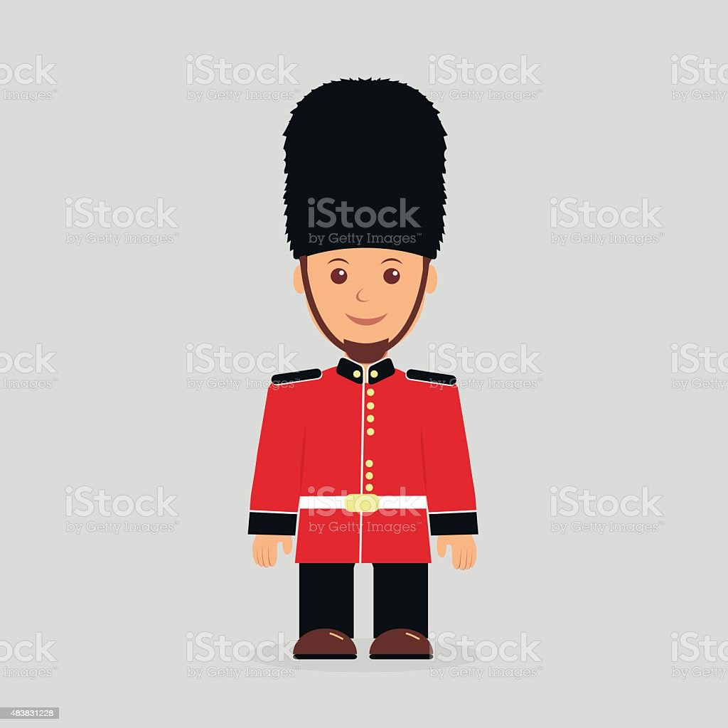 Illustration of a English guard against a light background vector art illustration