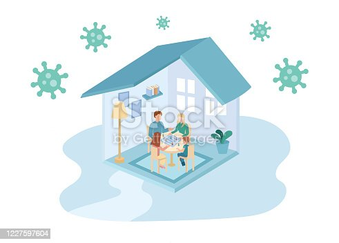 istock Illustration of a family at home in lockdown playing board games together 1227597604