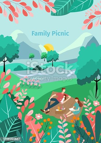 istock Illustration of a family picnic in the garden, Happy family outdoors in the garden,Vector nature background, 1256990687