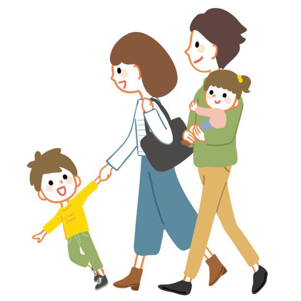 家族が歩いているイラスト。散歩や旅行などのシーンで使用できます。 - 家族 日本点のイラスト素材/クリップアート素材/マンガ素材/アイコン素材