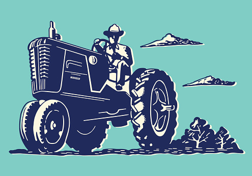 Illustration of a farmer on a tractor