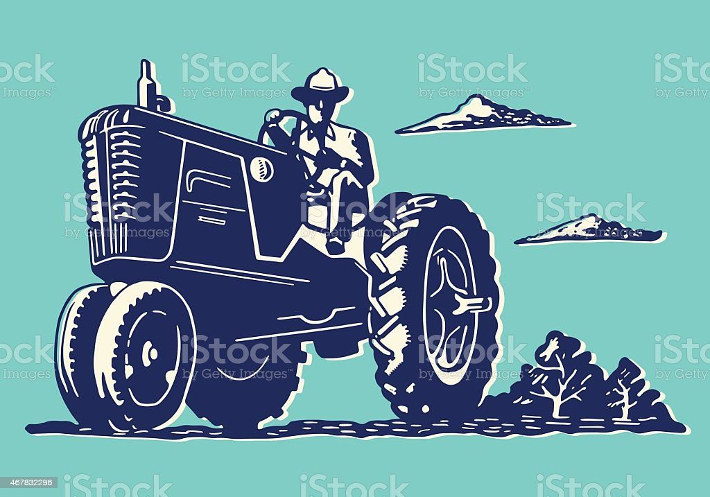 Illustration of a farmer on a tractor vector art illustration