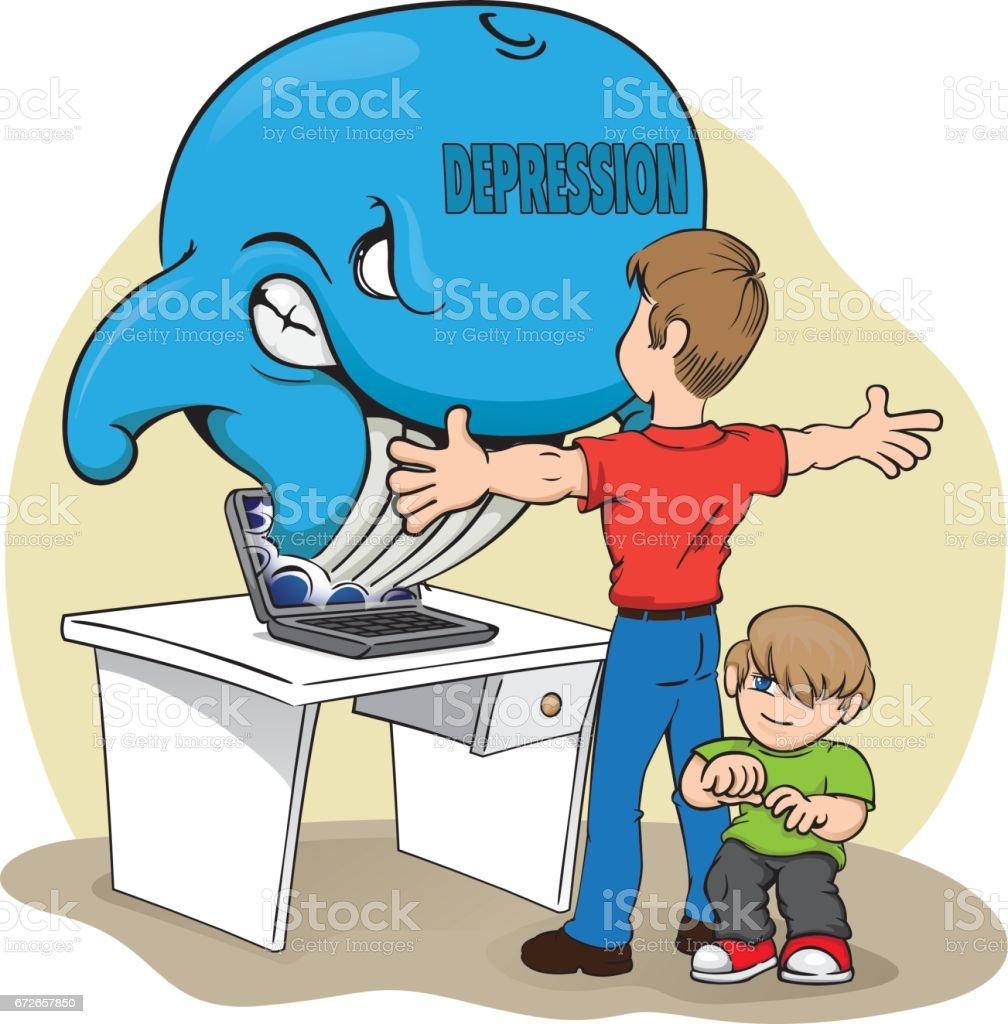 シロナガスクジラのリスクに対する彼女の子供を保護する父のイラスト理想的な教材と警告予防 イラストレーションのベクターアート素材や画像を多数ご用意 Istock