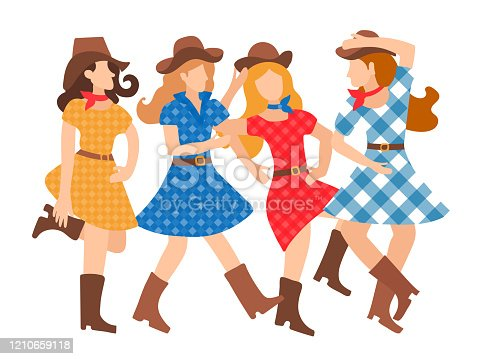 Illustration of a featured young girl dancing country style flat style. Beautiful and cheerful women dance in American tradition. Hats, plaid dresses, cowboy boots. Dance school design, poster, invitation, animation, banner.