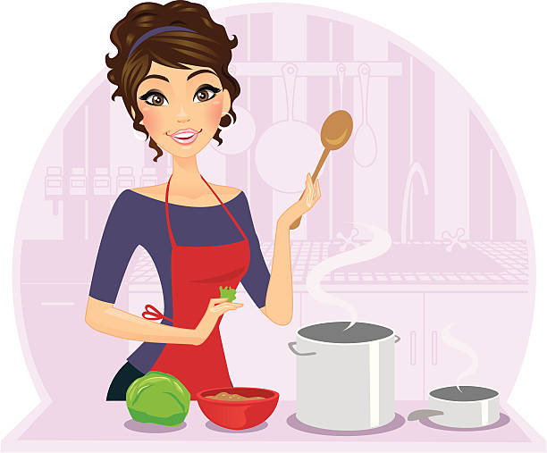 Illustration of a female chef cooking A beautiful chef cooking away in her kitchen. Background, foreground, and girl can all be used separately.  heyheydesigns stock illustrations