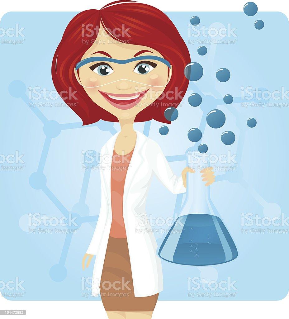 Illustration of a female chemist with bubbling beaker royalty-free stock vector art