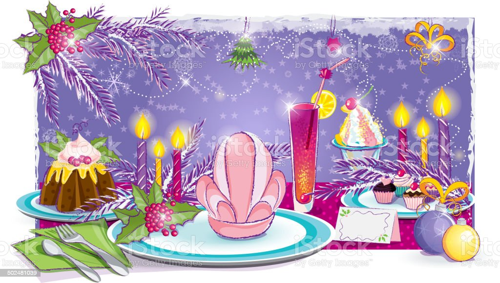 Illustration of a festive table for the New Year royalty-free stock vector art