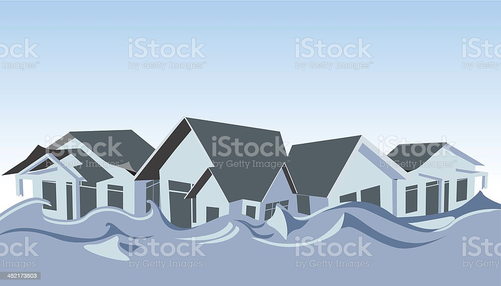 Illustration of a flooded row of houses royalty-free stock vector art