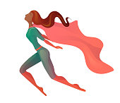 Illustration of a flying  African American super woman in costume with cloak. Elegant textural stylization of the girl. Vector element for postcards, articles and your design.