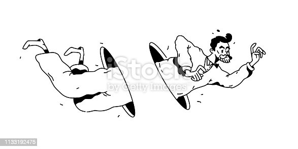 Illustration of a flying man through a hole or portal. Vector. Linear black and white drawing. Businessman passes through space. Hipster is flying on a white background. Teleportation.