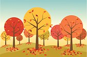 A colorful retro-styled forest in autumn.  Colorful fallen leaves gather around the base of each tree.