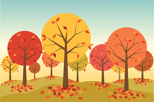 Illustration Of A Forest In Autumn With Leaves Falling Stock Illustration -  Download Image Now - iStock