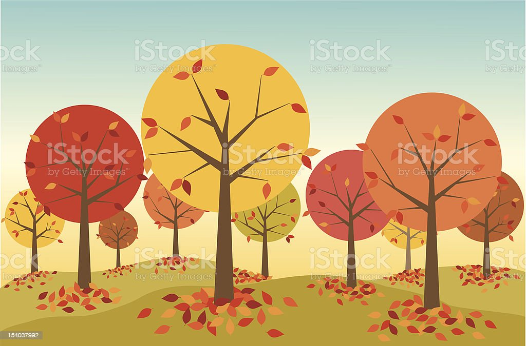 Illustration of a forest in autumn with leaves falling vector art illustration