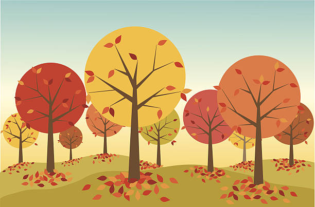 Illustration of a forest in autumn with leaves falling A colorful retro-styled forest in autumn.  Colorful fallen leaves gather around the base of each tree. autumn clipart stock illustrations