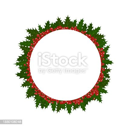 istock Illustration of a frame from a Christmas plant holly. Background for the holiday 1330108248