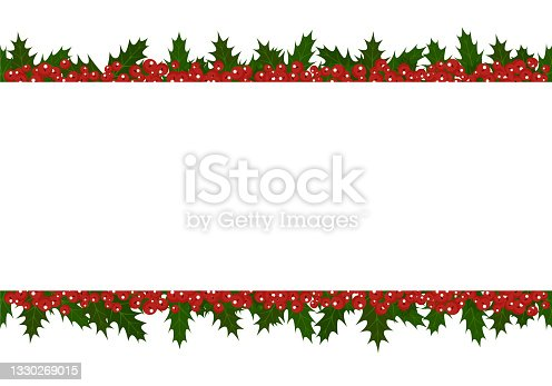 istock Illustration of a frame from a Christmas plant holly. Background for the holiday 1330269015