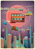 Illustration of a futuristic city scene.