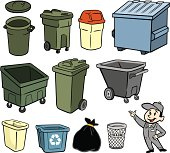 A illustration of a garbage man and trash cans