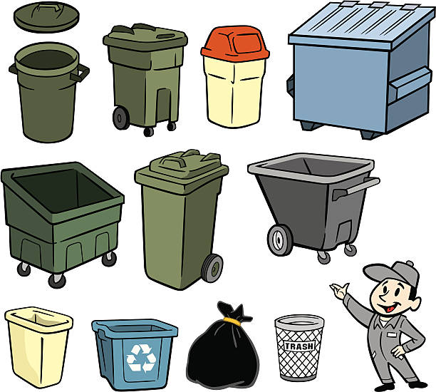 A illustration of a garbage man and trash cans vector art illustration
