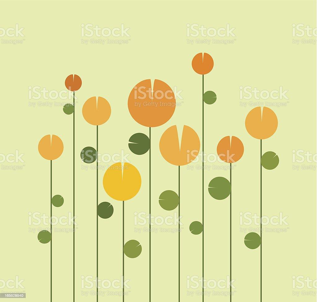 Illustration of a garden of tulips vector art illustration