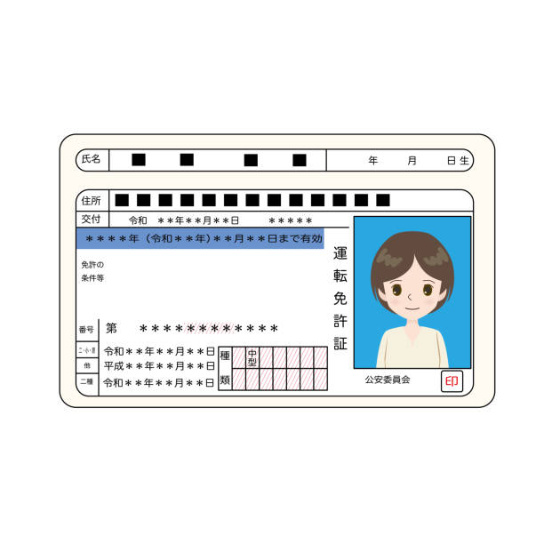 Illustration of a general Japanese driver's license. vector art illustration