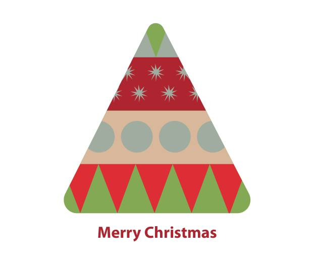 Illustration of a geometric christmas tree with Merry Chrstmas quote vector art illustration