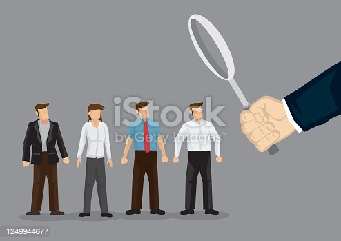 Illustration of a giant hand looking at business people. Concept of organization looking for talent.