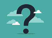 istock Illustration of a giant question mark surrounded by clouds and sky 1218858727