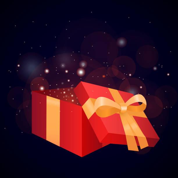 ilustraciones, imágenes clip art, dibujos animados e iconos de stock de ilustración de una caja de regalo y que resplandece - sparks