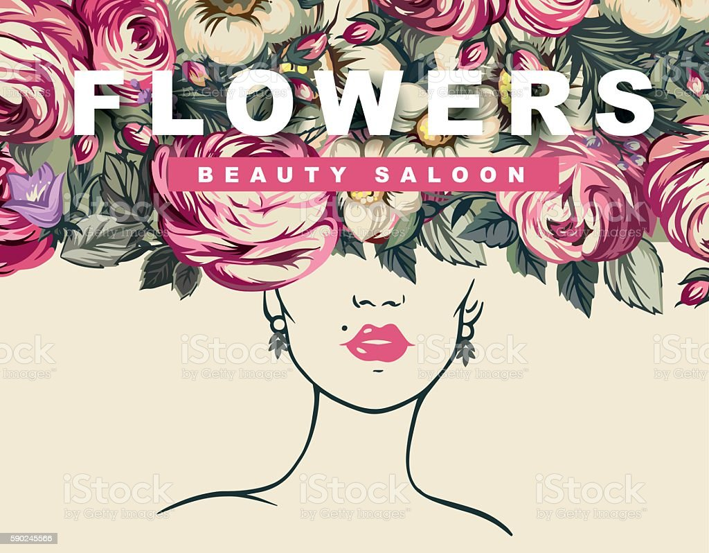 Illustration of a girl and flowers Background vector art illustration