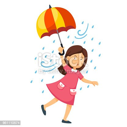 istock Illustration of a girl holding an umbrella on a white background 951110574