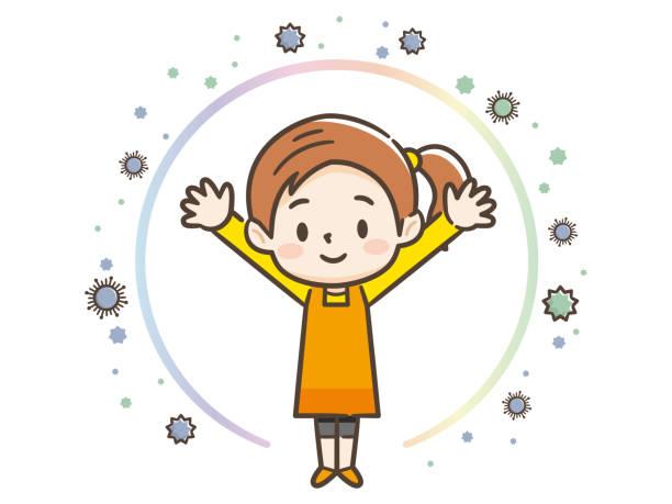 ウイルスから身を守る少女のイラスト - 花粉点のイラスト素材/クリップアート素材/マンガ素材/アイコン素材