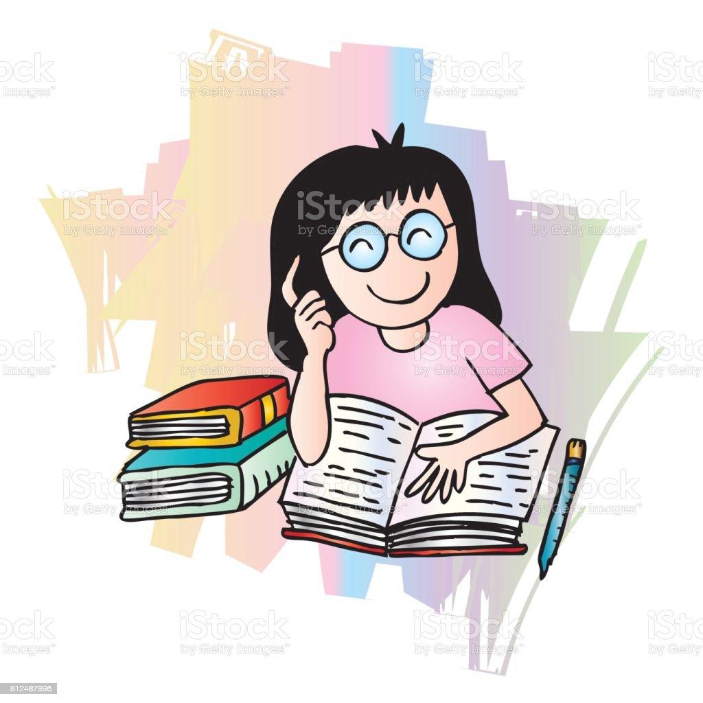 Bir Kız Bir Kitap Okuma Illustration Karikatür Tarzı Stok Vektör