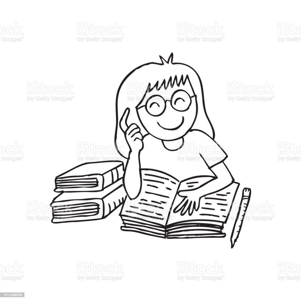 Vetores De Ilustracao De Uma Menina Lendo Um Livro Estilo De