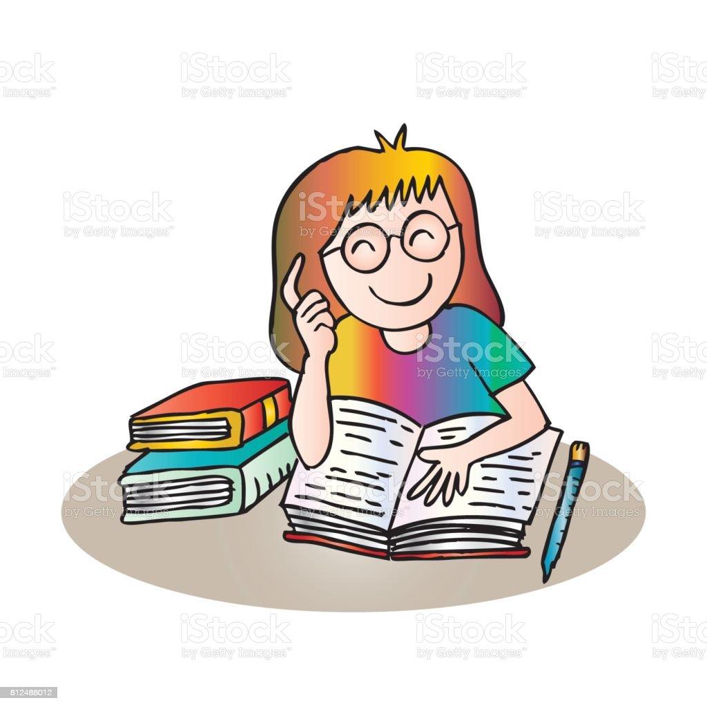 Bir Kiz Bir Kitap Okuma Illustration Karikatur Tarzi Stok Vektor