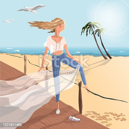 istock Illustration of a girl standing on a bridge by the sea 1221611465