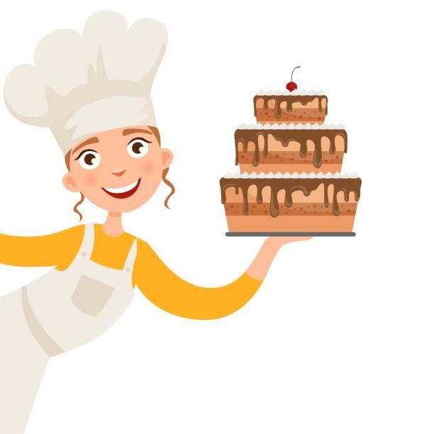illustrations, cliparts, dessins animés et icônes de illustration d'une jeune fille - boulanger