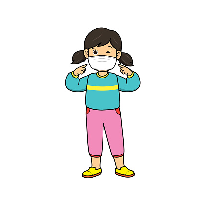 Illustration of a girl wearing a green shirt showing himself wearing a mask To prevent pollution, dust, smoke, or viruses entering the body.
