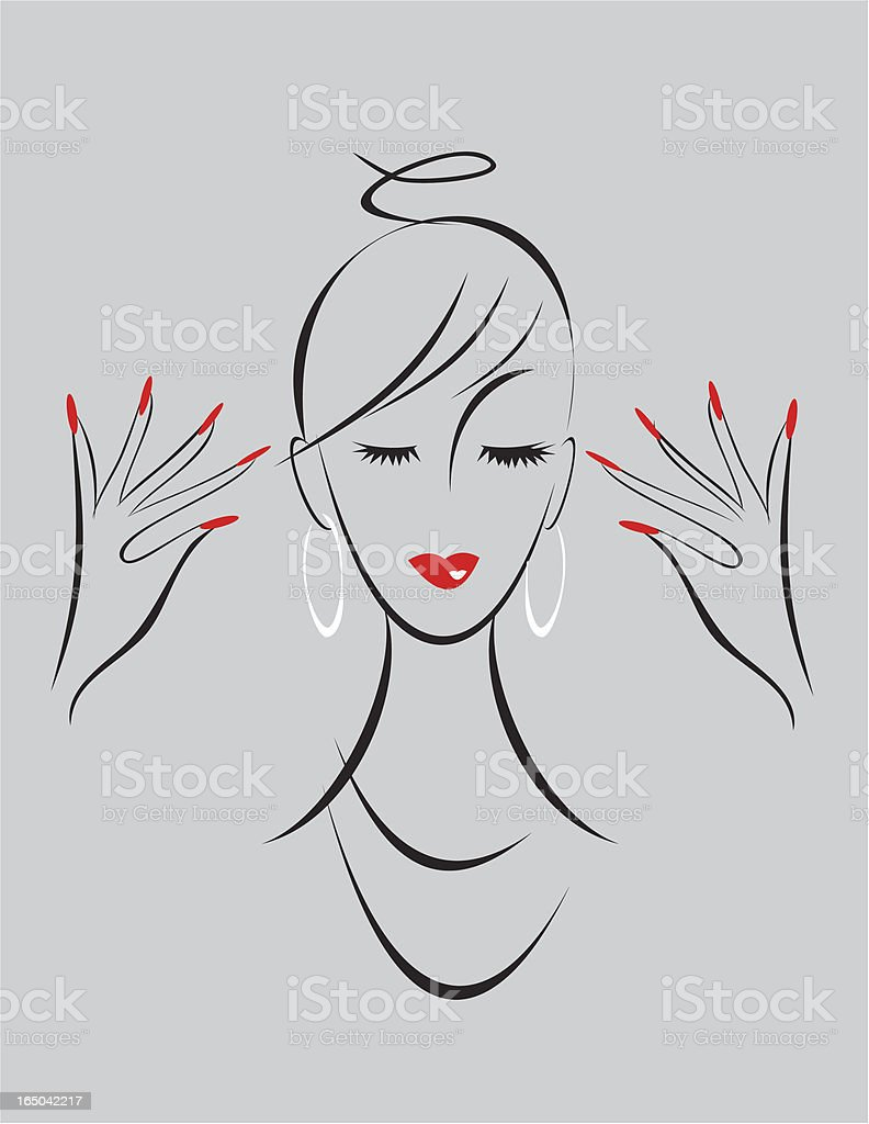 Illustration of a girls face with the red lipstick and nails royalty-free stock vector art