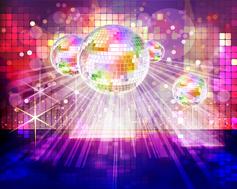Illustration of a glitter ball and disco dance floor