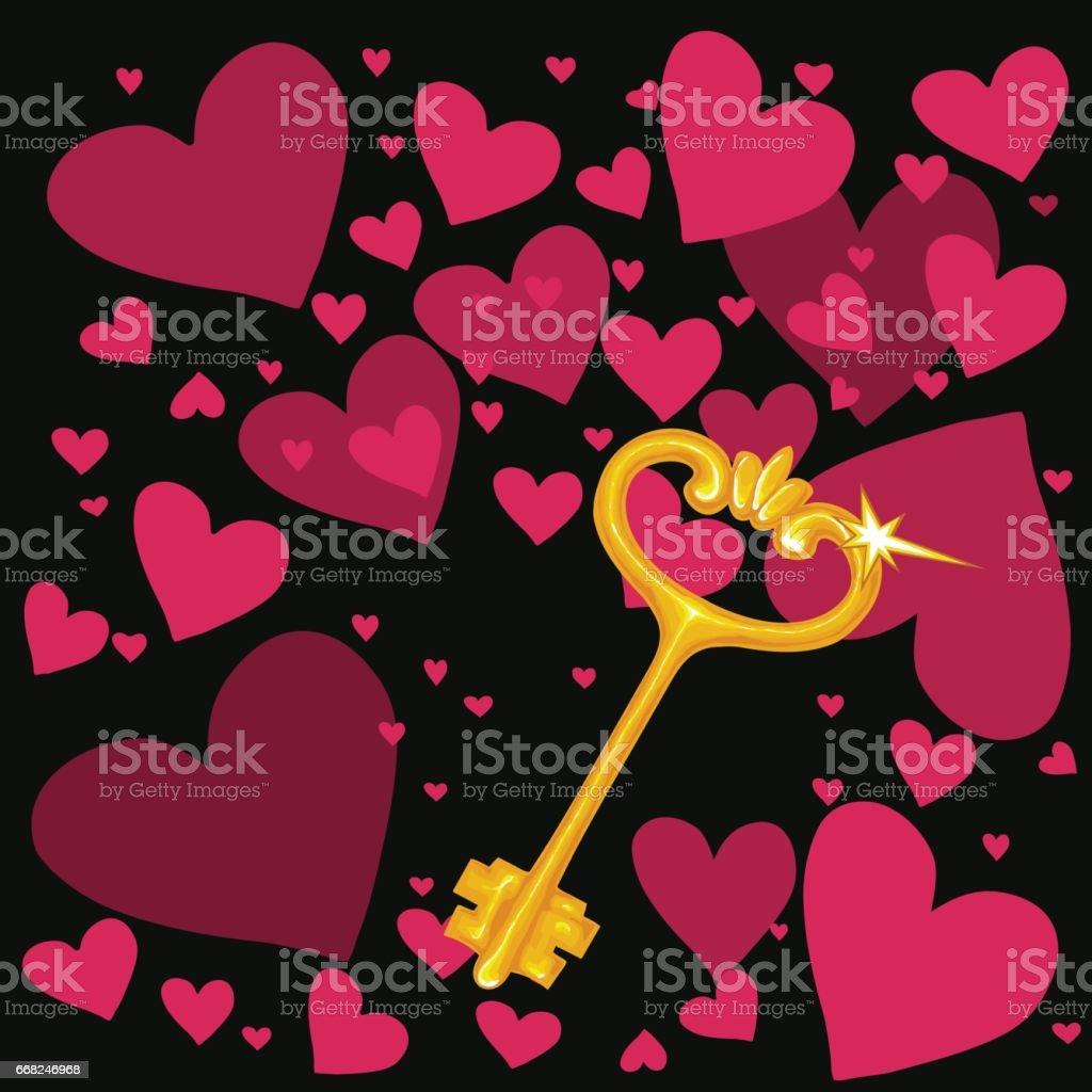 Illustration of a golden key in a picturesque style illustration of a golden key in a picturesque style - immagini vettoriali stock e altre immagini di chiave royalty-free