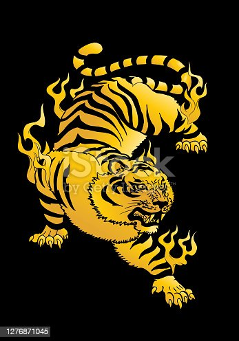 illustration of a golden tiger oriental mystical beast flying over black background